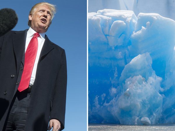 Environmentalists Donald Trump's Face on Glacier