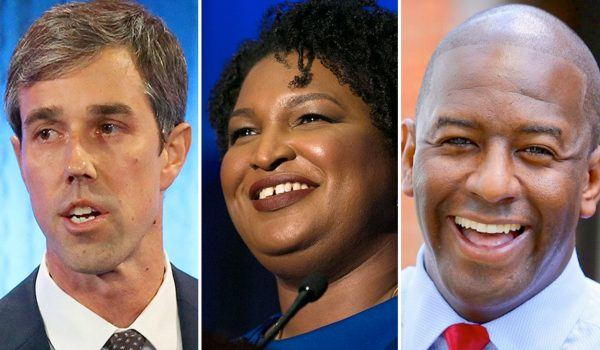 Beto O'Rourke, Stacey Abrams and Andrew Gillum