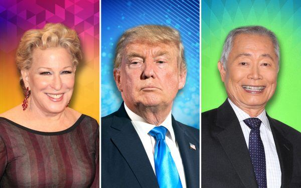 Donald Trump, Bette Midler and George Takei