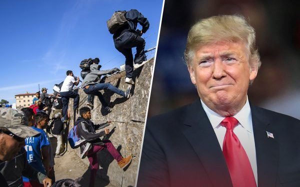 Illegal Immigrants Crossing the Border Wall and Donald Trump