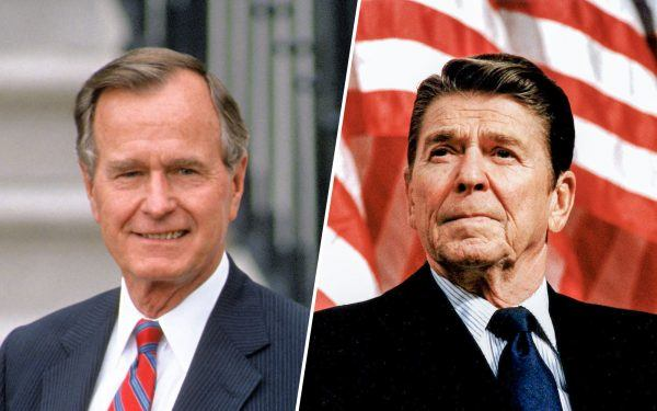 George H. W. Bush and Ronald Reagan