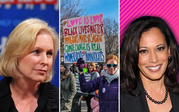 Kirsten-Gillibrand-Womens-March-and-Kamala-Harris