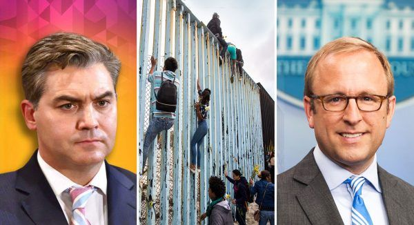 Jim-Acosta-and-Immigrants-climbing-and-Jonathan-Karl