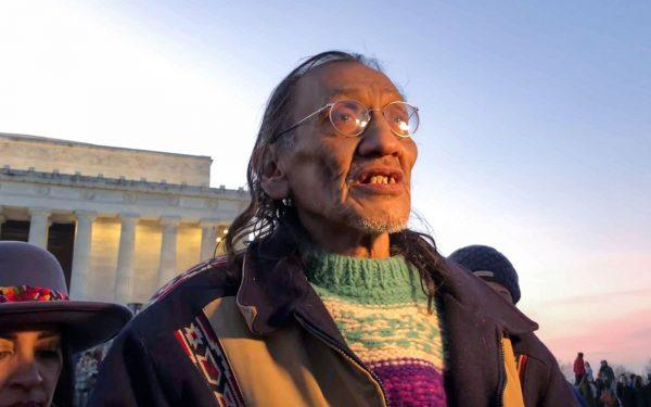 Nathan Phillips at the Lincoln Memorial