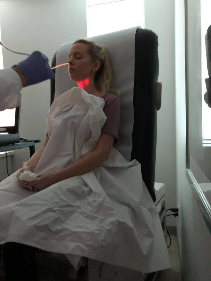 Leah during one of many procedures in the past 4 years