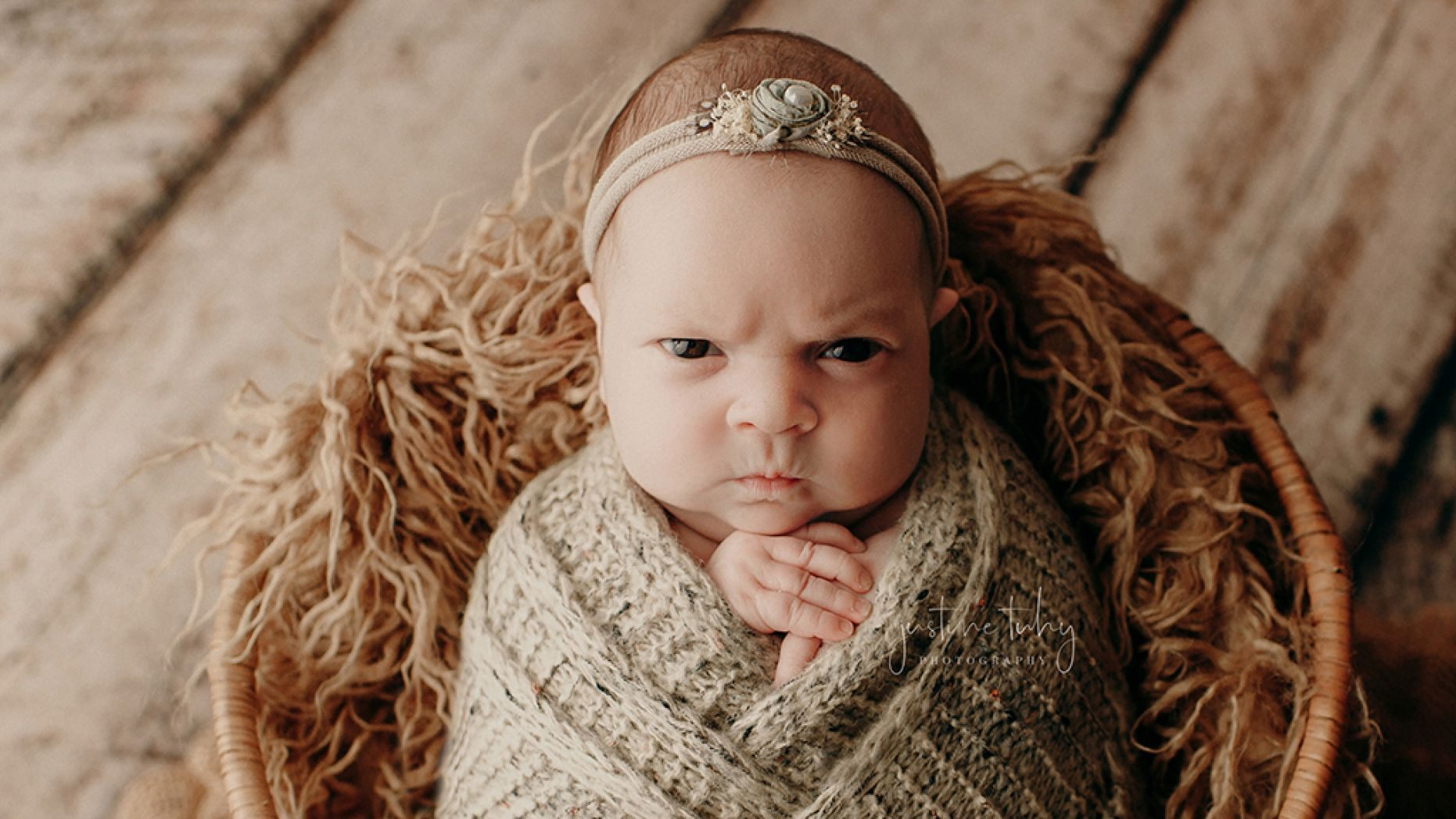 Grumpy Baby's Mean Mug Has Gone Viral