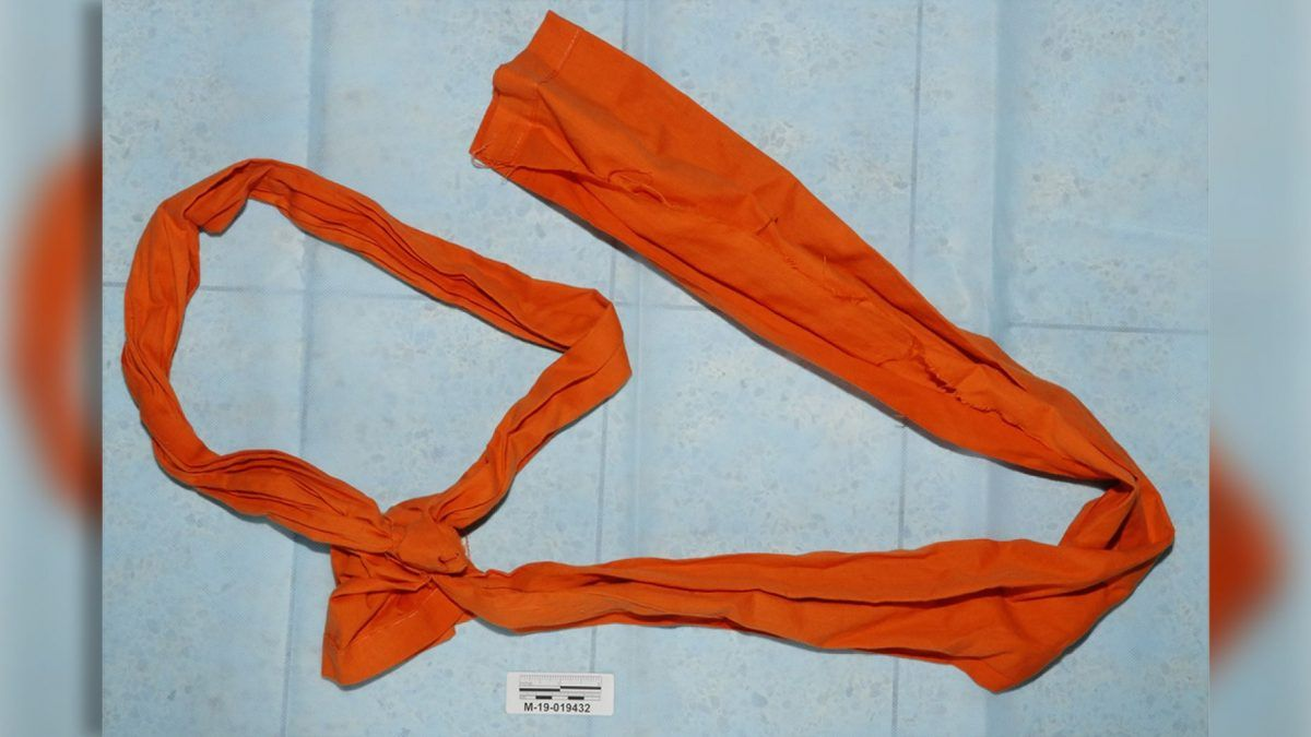 A noose made out of a prison sheet that was found inside Epstein's cell.