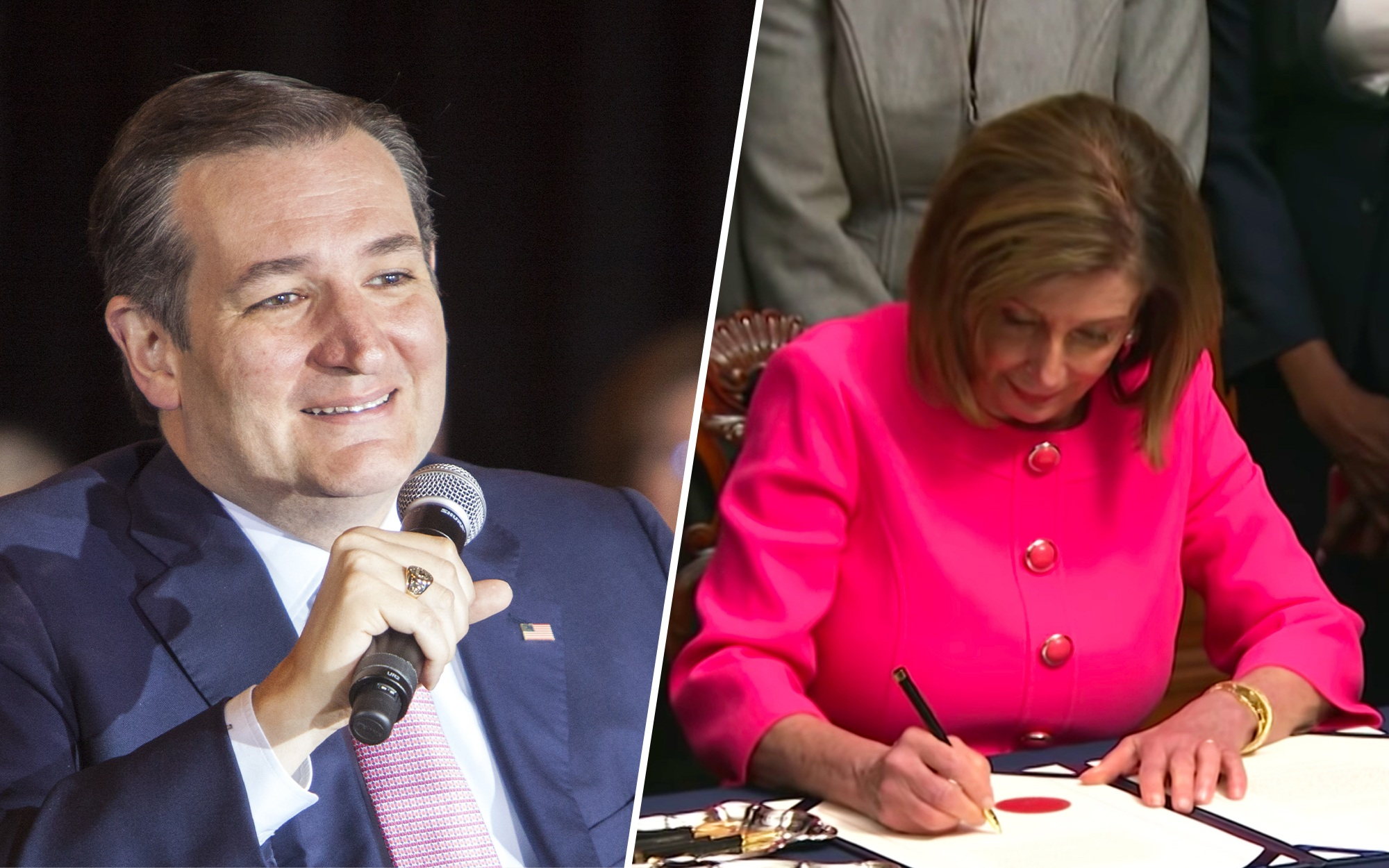 Ted Cruz Couldn't Help His Trolling Self from Mic-Dropping Pelosi's Impeachment Signing